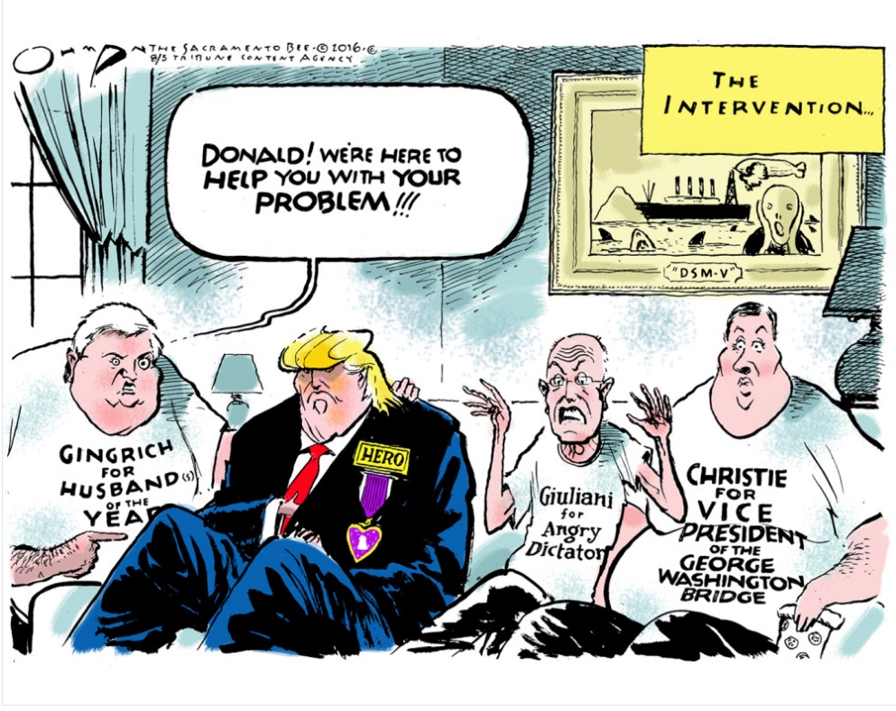 Political cartoon critiquing Donald Trump and his cronies.